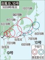 台風9号、10号の予想進路(5日18時現在)