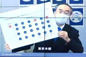 web中継で臨時記者会見を行う飯泉知事=30日午後2時半ごろ、徳島県庁