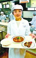 シカ肉シチューのレシピを考えた塩本さん=徳島市の徳島文理大