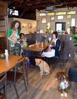 保護された犬を抱く石川さん(左)=徳島市万代町のモリソンズ・カナンカフェ