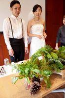 末長さんの結婚式で並べられた野菜の飾り付け=藍住町奥野のアクリエ