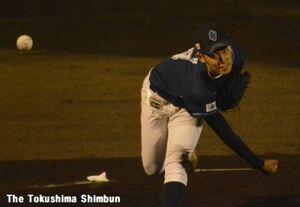 7回を無失点に抑えた徳島インディゴソックスの伊藤翔=JAバンク徳島スタジアム