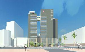 ホテルサンルート徳島の新館(左側)完成後のイメージ