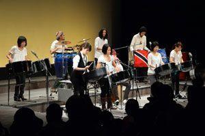 スチールパンの柔らかな音色を響かせる「パンドル」のメンバー=徳島市の県立21世紀館