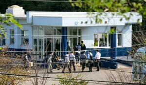 北海道警が家宅捜索に入った障害者支援施設=24日午前、北海道江差町