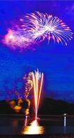 新型コロナウイルスの収束を願って打ち上げられた花火=1日午後8時ごろ、阿南市橘町