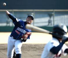 今季初のオープン戦で力投する徳島の新田=JAバンク徳島スタジアム