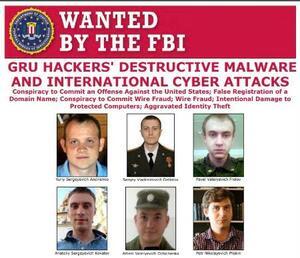 米連邦捜査局(FBI)がウェブサイトで公開したロシア軍参謀本部情報総局(GRU)のハッカー6人の写真