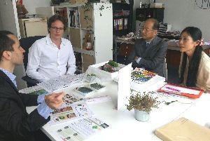 パリの食品加工会社で新鮮な葉わさびを見てもらい、商談する横石社長(右から2人目)=6月(いろどり提供)