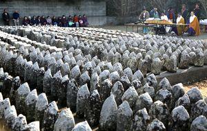 無縁墓の供養を見守る里浦町の住民ら=鳴門市里浦町