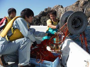 イセエビ漁の網を引き揚げる生徒ら=美波町伊座利沖(伊座利小提供)
