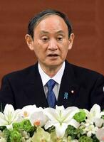 平和記念式典後、記者会見する菅首相=6日午前、広島市(代表撮影)