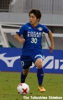 徳島へ移籍後、初の公式戦出場を果たしたMF佐々木選手=鳴門ポカリスエットスタジアム