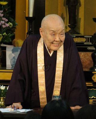 「頂いた命を大切に」 寂聴さん京都で法話