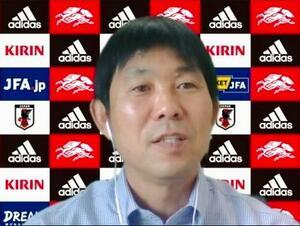 オンライン取材に応じるサッカー日本代表の森保監督=20日午後