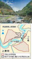 【上】つり橋のイメージ図(上勝町提供)【下】「彩山」の予定地