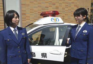 広域自動車警ら隊に配属された宮下巡査(左)と中川巡査=県警本部