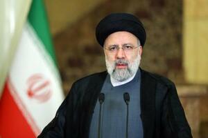 21日のニューヨークでの国連総会一般討論演説で、ビデオ形式で演説するイランのライシ大統領(ゲッティ=共同)