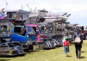 個性的な装飾が施されたアートトラックが並ぶチャリティー撮影会=徳島市の吉野川河川敷