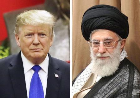トランプ米大統領(AP=共同)、イランの最高指導者ハメネイ師(ゲッティ=共同)