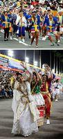 [上]18カ国・地域の踊り子が笑顔で乱舞を繰り広げた徳島市国際交流協会連=市役所前演舞場 [下]きらびやかな衣装で観衆を魅了したバングラデシュの舞踊団=藍場浜演舞場