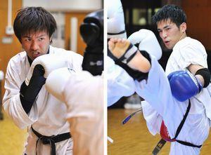 [右]スパーリングで汗を流す水口さん[左]初勝利を目指し練習に打ち込む中川さん=徳島市の渭北コミュニティセンター