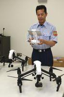 鳴門市消防本部が導入したドローン。手前が赤外線カメラ搭載機=市消防本部