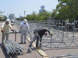 阿波踊り演舞場の設営始まる 徳島市