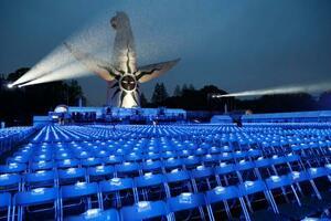 聖火リレーの到着イベント会場。無観客となった=13日午後、大阪府吹田市の万博記念公園
