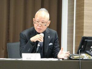 会見で記者の質問に答えるキョードー東京の前田三郎取締役=都内
