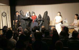 浄瑠璃人形と西洋音楽の組み合わせで演じられた劇=徳島市の阿波十郎兵衛屋敷