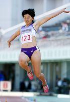 女子走り幅跳び 追い風参考ながら6メートル07の好記録をマークした木村