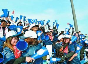 甲子園出場を決め、抱き合って喜ぶ鳴門の応援団=鳴門市の鳴門オロナミンC球場