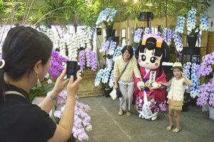 あんみつ姫と記念写真を撮る来場者=美馬市脇町北庄の洋ラン展示販売施設・あんみつ館