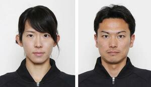 近代五種の東京五輪代表に決まった高宮なつ美(左)、岩元勝平
