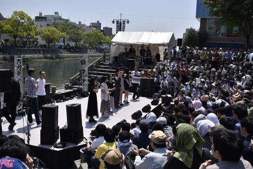 2019年5月に徳島市で開催されたマチ★アソビ開幕式の様子。市は「訪れてみたい日本のアニメ聖地88(2020年版)」に3年連続で選ばれた