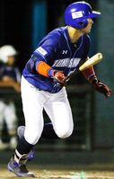 徳島対愛媛 6回、2死二塁から安井が左翼線に二塁打を放ち3―1とする=JAバンク徳島スタジアム