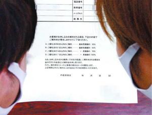 徳島市の結婚式場と交わした契約に関する書類に目を通す小松島市の新郎新婦。解約金50万円を申し受けると記されている