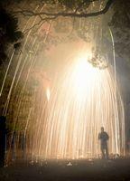 勢いよく降り注ぐ吹筒花火=小松島市立江町青森の立江八幡神社
