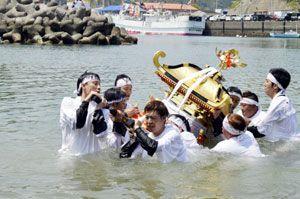 竹島神社の夏祭りで浜入れを行う若者たち。今年は担ぎ手不足で中止を決めた=2016年5月22日、海陽町宍喰浦の竹ケ島港