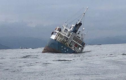 傾くセメント運搬船=21日午前11時ごろ、鳴門市沖の鳴門海峡(読者提供)