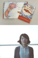 【上】絵本「赤い金魚と赤いとうがらし」の表紙【下】高橋久美子さん