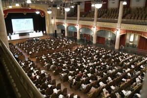 「大阪都構想」の制度案に関する住民説明会=26日午前、大阪市中央公会堂