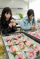 卒業生に贈るコサージュを作る生徒=吉野川市の吉野川高