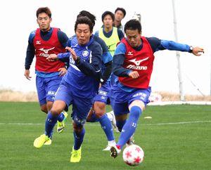 天皇杯4回戦に向けて調整する徳島ヴォルティスの選手=徳島スポーツビレッジ
