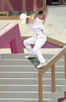 女子ストリート予選 演技する西村碧莉=有明アーバンスポーツパーク