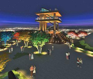 徳島市が眉山山頂に建設を計画していた観光展望施設のイメージ図(市提供)