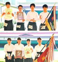 【上】5年ぶり2度目の優勝を果たした阿波男子【下】2年ぶり5度目の頂点に立った徳島市立女子=鳴門弓道場