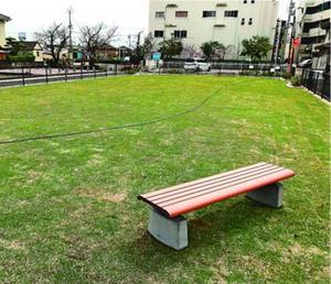 阿南駅近くに完成した芝生広場=阿南市富岡町今福寺