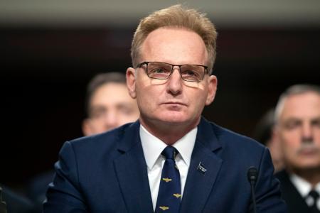 米上院の公聴会に出席したモドリー海軍長官代行=2019年12月3日、ワシントン(AP=共同)